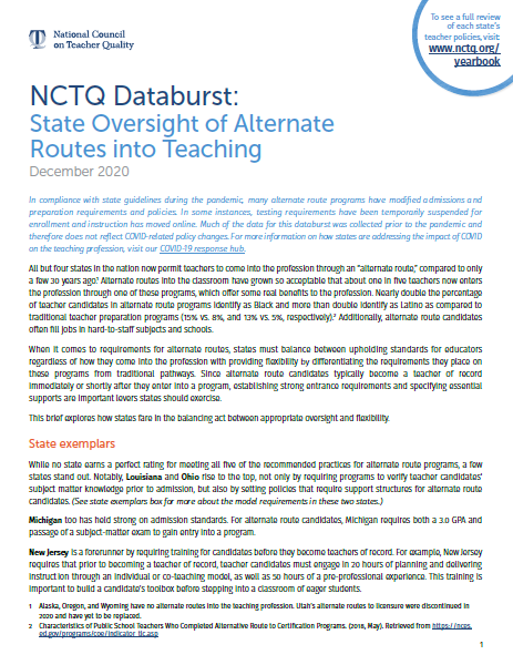 NCTQ Databurst: State Oversight of Alternate Routes into Teaching