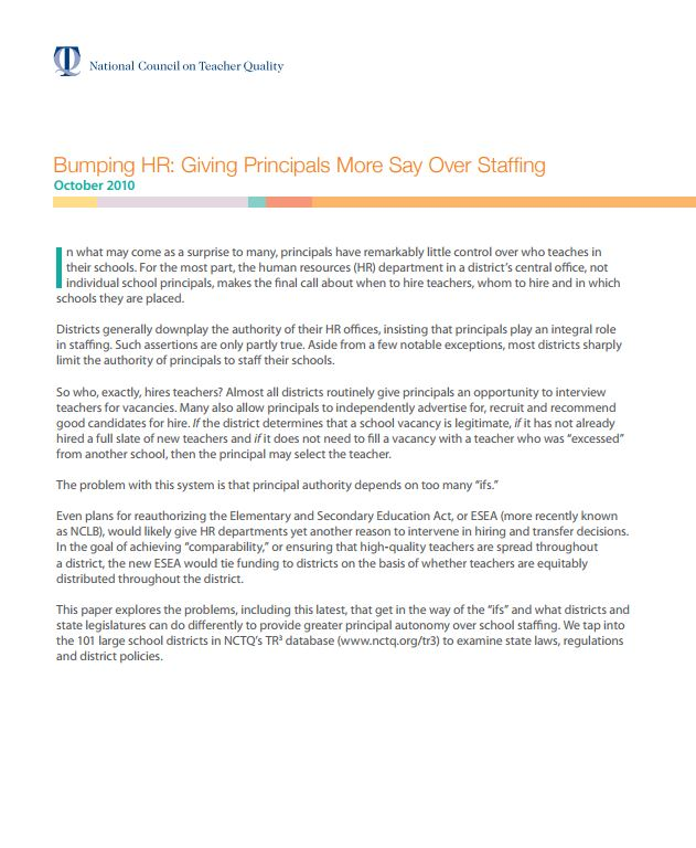 Bumping HR: Giving Principals More Say Over Staffing
