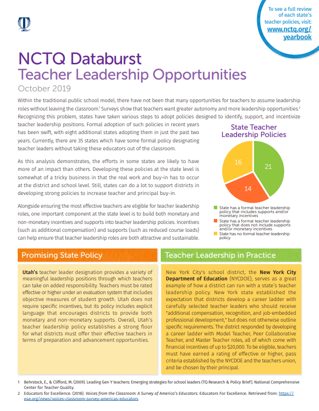 NCTQ Databurst: Teacher Leadership Opportunities