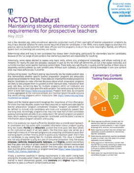 NCTQ Databurst: Maintaining strong elementary content requirements for prospective teachers