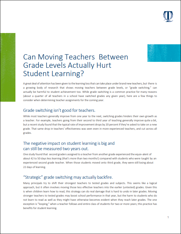 Can Moving Teachers Between Grade Levels Actually Hurt Student Learning?
