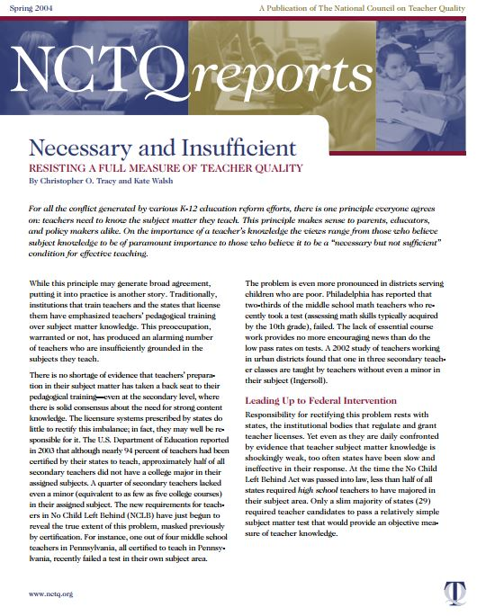Necessary and Insufficient: Resisting a Full Measure of Teacher Quality