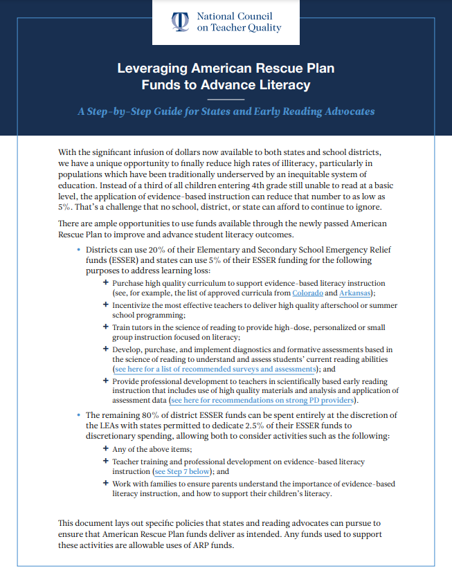 Leveraging American Rescue Plan Funds to Advance Literacy: A Step-by-Step Guide for States and Early Reading Advocates