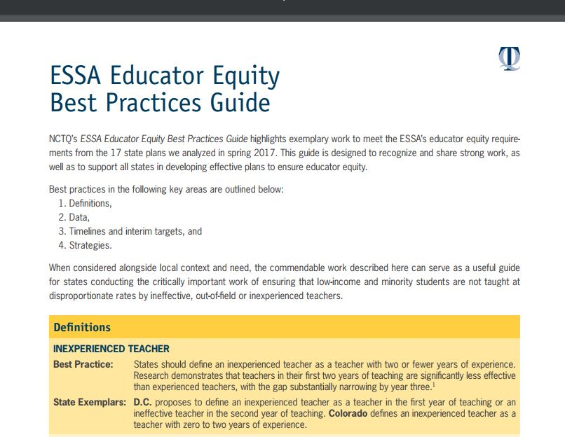 Spring 2017 ESSA Educator Equity Best Practices Guide