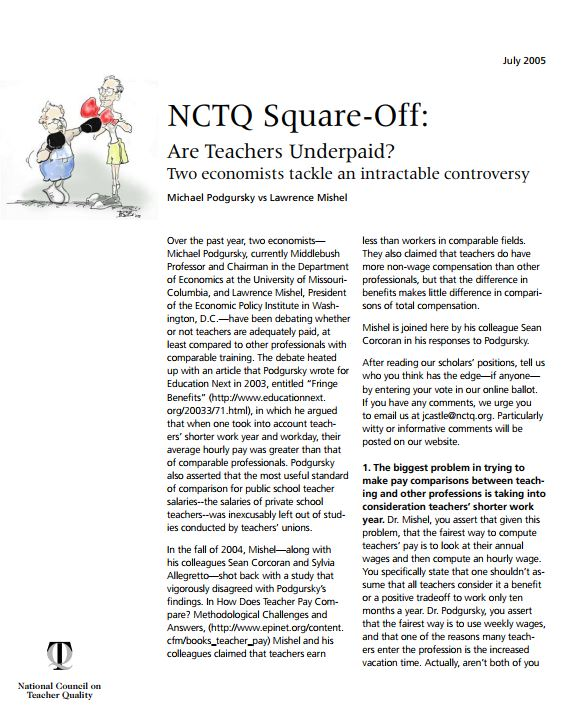 NCTQ Square-Off: Are Teachers Underpaid? Two economists tackle an intractable controversy