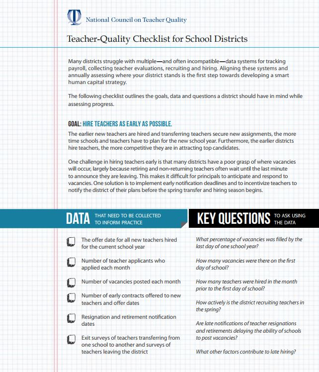 Teacher-Quality Checklist for School Districts